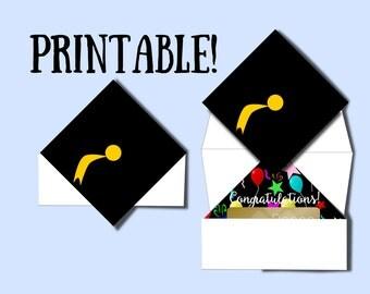 Graduation card printable money holder gift card grad hat instant download diy graduation gift grad printable congratulation card grad print