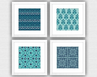 Indian Block Print Pattern Framed Art Print in Shades of Blue - 12 x 12 inch squares