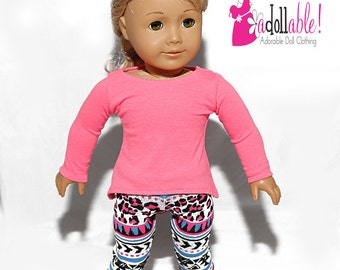 American made Girl Doll Clothes, 18 inch Doll Clothing, Asymmetrical Top with Capris made to fit like American Girl doll clothes