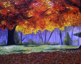 Autumn Day hand painted acrylic on canvas