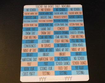 November Teacher Planner General Events Headers