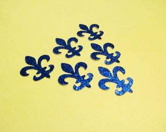 Fleur de lis die cuts- Frozen Colors - Silver - Royal Blue Glitter - 50ct - Cardmaking- Princess Elsa - Confetti-Decor - Scrapbook - Parties