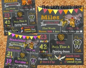 The Lion Guard Birthday Chalkboard / 1st birthday chalkboard / 2nd birthday chalkboard/ The Lion King Birthday