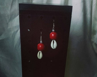 Cowry shell and stone  Earrings