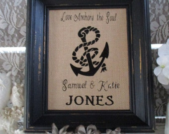 Personalized Burlap Couple S Wall Art Unique Wedding Gift For The Newlyweds Monogram Home Decor Wall Hanging Christmas Present