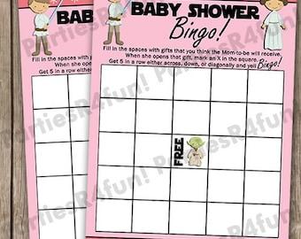 Jedi Baby Bingo, Baby Shower Bingo, Baby Shower Games, Baby Bingo, Baby Bingo Baby Shower Game, INSTANT DOWNLOAD Digital File Pink