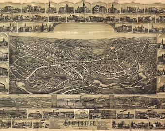 Southbridge, Worcester Co., Massachusetts, MA, 1892.  Restoration Hardware Home Deco Style Old Wall Vintage Reprint.