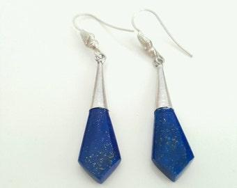 Lapis lazuli and silver earring, lapis dangle earing