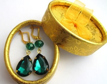 Emerald green crystal dangle drop earrings| Free shipping!