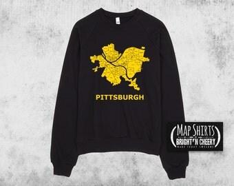 Pittsburgh Map Sweatshirt, American Apparel Cotton Fleece Pullover, Pittsburgh sweatshirt, steelers sweatshirt, Pittsburgh neighborhoods