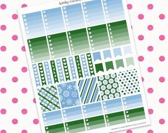 Erin Condren December Theme Kit (Single Page) || Printable Planner Stickers || Instant Digital Download