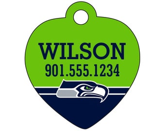 Seattle Seahawks Pet Id Tag for Dogs & Cats Personalized w/ Name and Number
