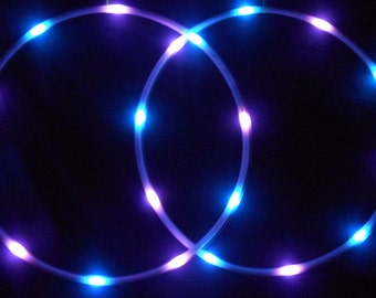 Andromeda LED Mini Hoops (Set of 2)  Purple/Yellow/Blue and Purple/Blue/Green Strobe - Rechargeable Li-Ion