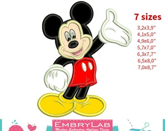 Applique Mickey Mouse. Machine Embroidery Applique Design. Instant Digital Download (16260)