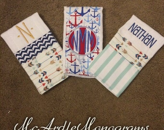 Personalized and embroidered baby boy burp cloths, arrows, anchors, blue and red, perfect baby shower gift!