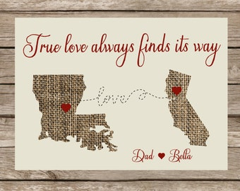 True Love Map Print- canvas map hearts, family distance map, map with hearts, relationship map, true love map print, relationship moving