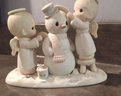 Precious Moments Snowman And Angels Figurine, Vintage Precioues Moments, precious Moments Figurine