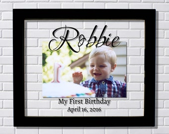 First Birthday Frame - Floating Frame - My First 1st Birthday - Personalized Custom Name Date - Photo Picture Frame - Boy Girl Child