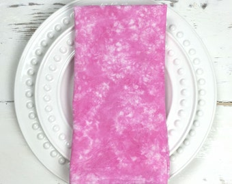 ON SALE - Pink Hand Dyed Napkins - Pink Flour Sack Napkins - Pink Table Linens - Cloth Pink Napkins