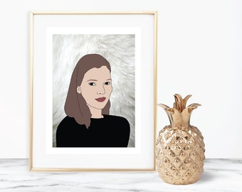 Kate Moss Illustration Digital Print Download