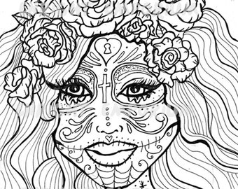 sugar skull girl day of the dead coloring page digital download - Day Of The Dead Coloring Pages