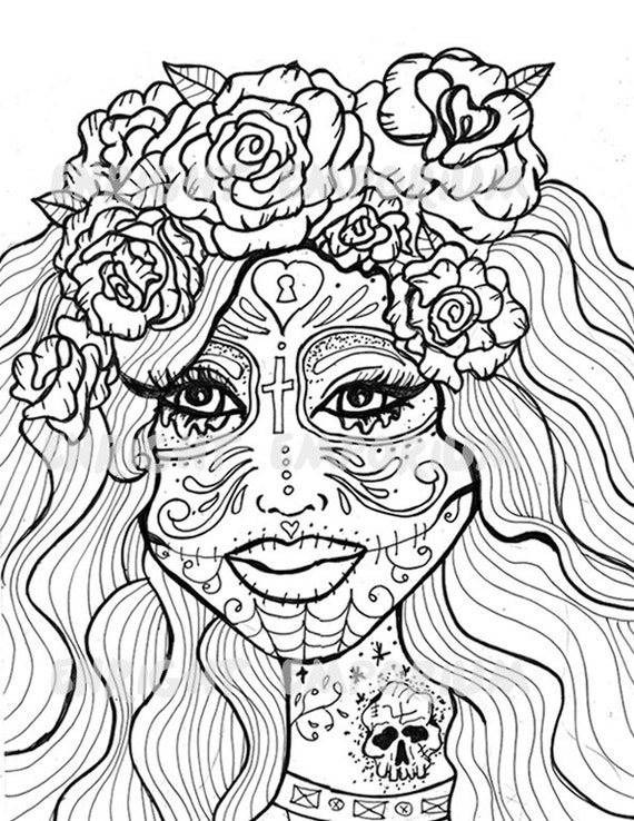 Items similar to Sugar Skull Girl Day Of The Dead Coloring Page