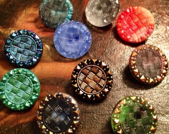 10 beautiful old collector / glass buttons - Art Nouveau knobs - 10 colors