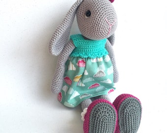 Crocheted bunny in green cloud-print dress (40% discount)