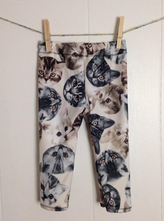 Items similar to Adult CAT face print Leggings spandex ...  |Cat Print Spandex
