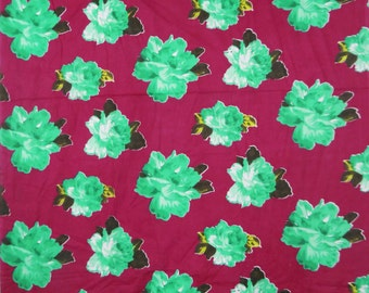 Magenta Dressmaking Green Floral Printed Indian Pure Cotton Fabric For Sew Craft Material Apparel Decorative Cotton Fabric By 1 Yd ZBC5094