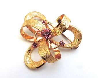 Vintage Goldtone Metal Ribbon Pink Rhinestones Brooch Pin