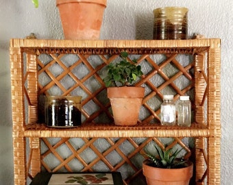 Rattan, 3 shelf stand or hanging. Excellent condition!