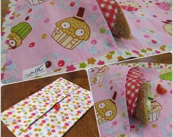 Cupcakes reusable snack bag. Reusable sandwich bag for school. Personalized.