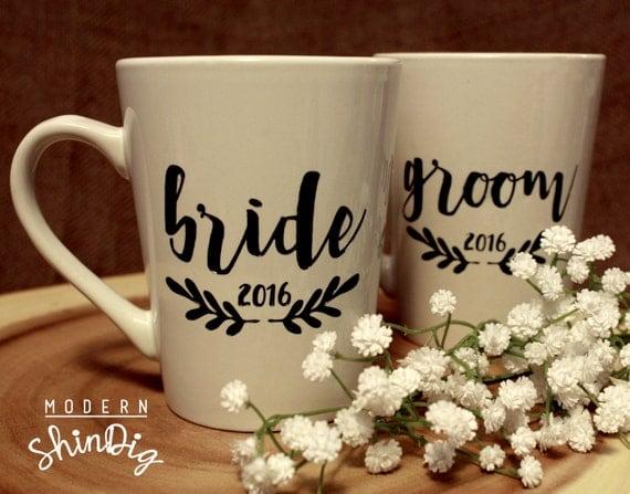 Engraved Wedding Coffee Mugs : Bride and Groom Engraved Ceramic Coffee MugsSandblasted and Painted ...
