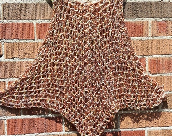 Bronze Crocheted Cover Up / Tank Top / Dress