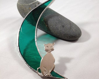 CAT in the MOON - Sea GREEN - Handcrafted Stained Glass