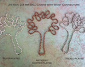 24 inch ball chain for pendants in silver-, copper- or nickel-plate