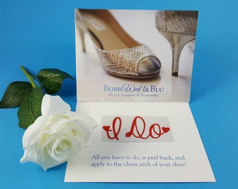 "Red ""I Do"" Heart Wedding Shoe Sticker Decal Accessories"