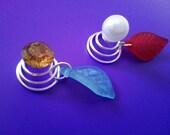 Orange Rhinestone and Pearl Imitation Bead Women Girls Twist Hair Pin with Acrylic Leaf Charm Mix Colors