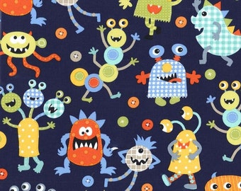Monster Mash Navy by Michael Miller - Monsters Aliens Blue - Quilting Cotton Fabric - by the yard fat quarter half