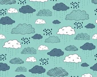 Greatest Adventure Clouds Aqua by Riley Blake Designs - Sky Rain Blue - Quilting Cotton Fabric - fat quarter
