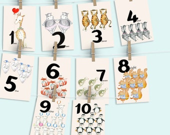 Number wall cards, learning numbers, animal number cards, counting wall cards, woodland animal game, woodland numbers, Classroom decor
