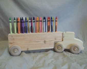 Wooden Semi Crayon Holder with Crayons