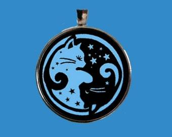 Yin Yang Jewelry, Cat Pendant, Cat Yin Yang,  Yin Yang Pendant, Yin Yang Cats, Yin Yang Key Chain.