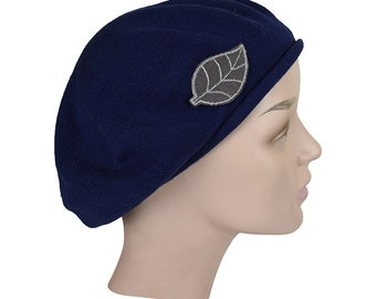 Ladies Navy Beret Hat with as Cute Grey Leaf Applique Stylish Fashionable Comfortable Red Cotton Womens Hat
