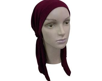Pre-tied Headscarf Cranberry Tichel Bandana Chemo Modest Womens Tichel Head Cover Pretied Bandana Soft Hair Loss Hat Alopecia Food Prep Cap