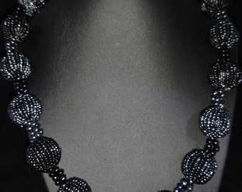 Black Seed Bead Necklace and Matching Bracket