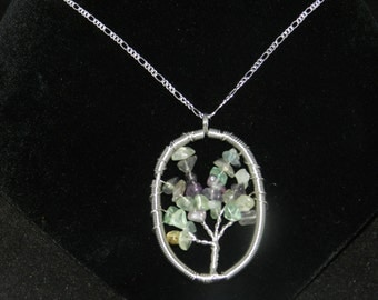 """Fluorite Tree of Life Necklace-925 Sterling Chain 20"""""""