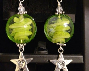 Green Lampwork Glass with Stars Earrings