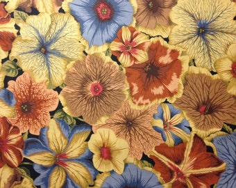 Large Tan, Blue and Rust Flowers by Phillip Jacobs for Rowan, Westminster Fabrics, 100% Cotton